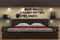 'Eat Well Laugh Often Love Much' Wall Quote Sticker