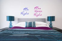 JC Design 'Mr Right' and 'Mrs Always Right' - Funny Wall Stickers