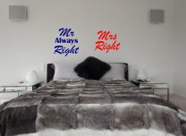 JC Design 'Mr Always Right' and 'Mrs Right' - Pair Of Amusing Stickers