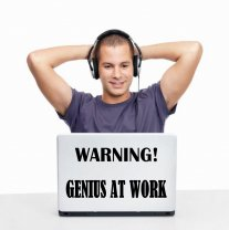JC Design 'Warning! Genius At Work' Funny Vinyl Wall / Laptop Sticker