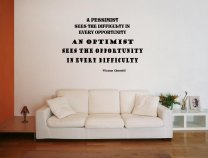 JC Design 'A pessimist sees the difficulty in every opportunity...' W.Churchill Quote Wall Decal