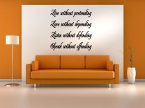 JC Design 'Live without pretending, Love without depending...' Large Wall Decal