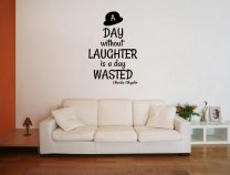 JC Design 'A day without laughter is a day wasted' Charlie Chaplin Quote Sticker