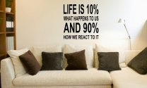 JC Design 'Life is 10% what happens to us and 90% how we react to it' - Large Wall Decoration