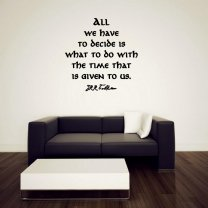 JC Design 'All we have to decide is what to do with the time that is given to us' JRR Tolkien - Wall Quote Vinyl Decor