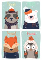 Friends Cute Scandi Colourful Animals Nordic Poster Owl Fox Print