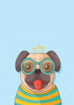 'King Pug' Funny Cute Scandi Poster