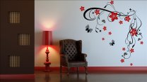 Flowers And Butterflies -  Vine Decoration Wall Stickers