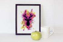 Stunning Fuchsia Modern Deer Splash Poster by FunWorld